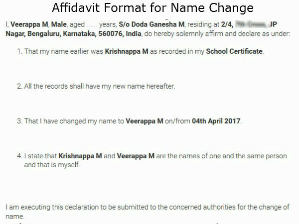 How to get your name changed in Karnataka - Oneindia News - Affidavit Formats