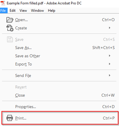 After the form is complete, go to File > Print
