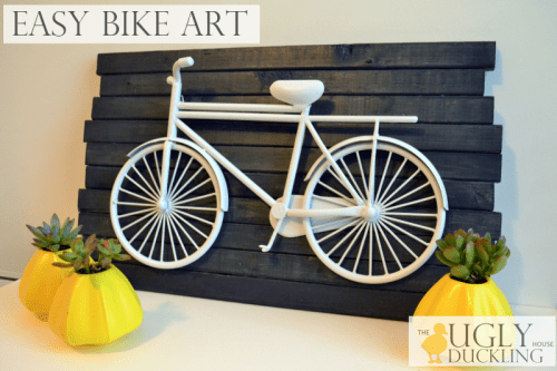 easy DIY blue and white bike art