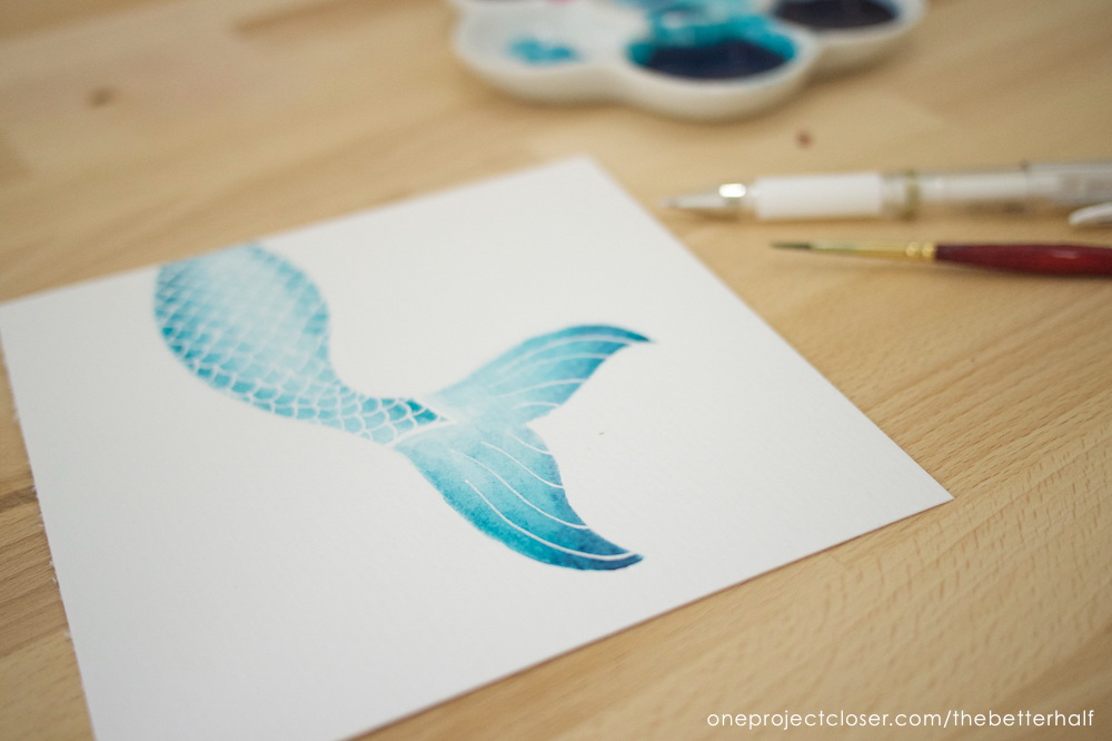 How to Paint a Watercolor Mermaid Tail + Printable - One Project Closer