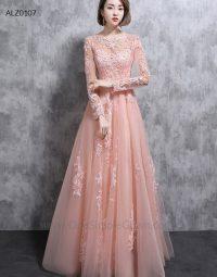 Peach Color Long Sleeve Lace Zipper Evening Dress ...