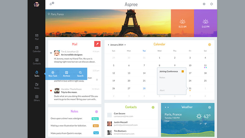 30 Vivid Dashboard UI Designs for Your Inspiration - phone book example