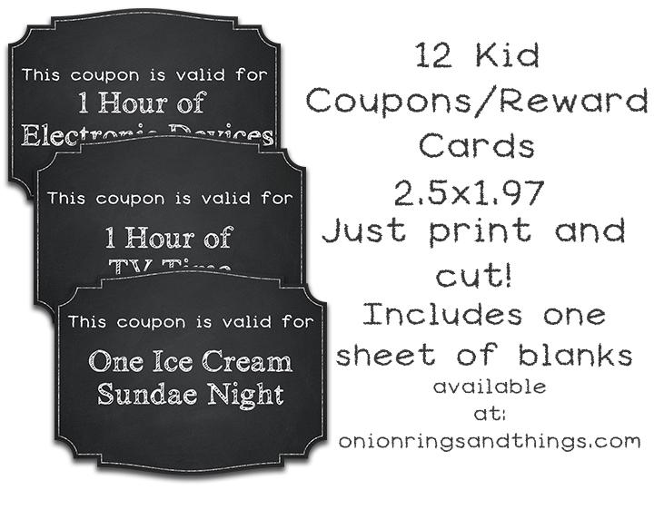 FREE Kids\u0027 Reward Coupon Printables - Onion Rings  Things