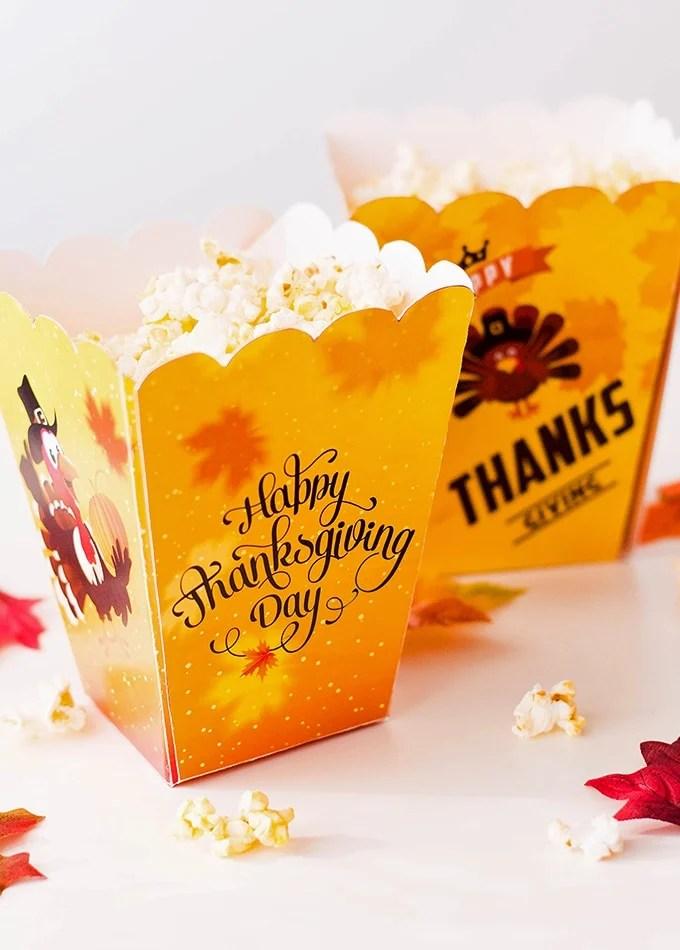 Free Printables Thanksgiving Popcorn Boxes - Onion Rings  Things
