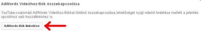 YouTube AdWords fiók csatlakoztatás