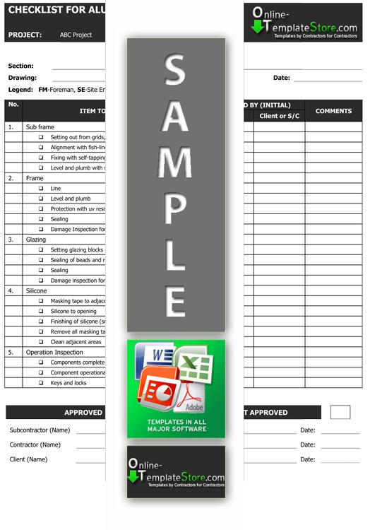 Quality Control forms Construction Templates - quality assurance form template