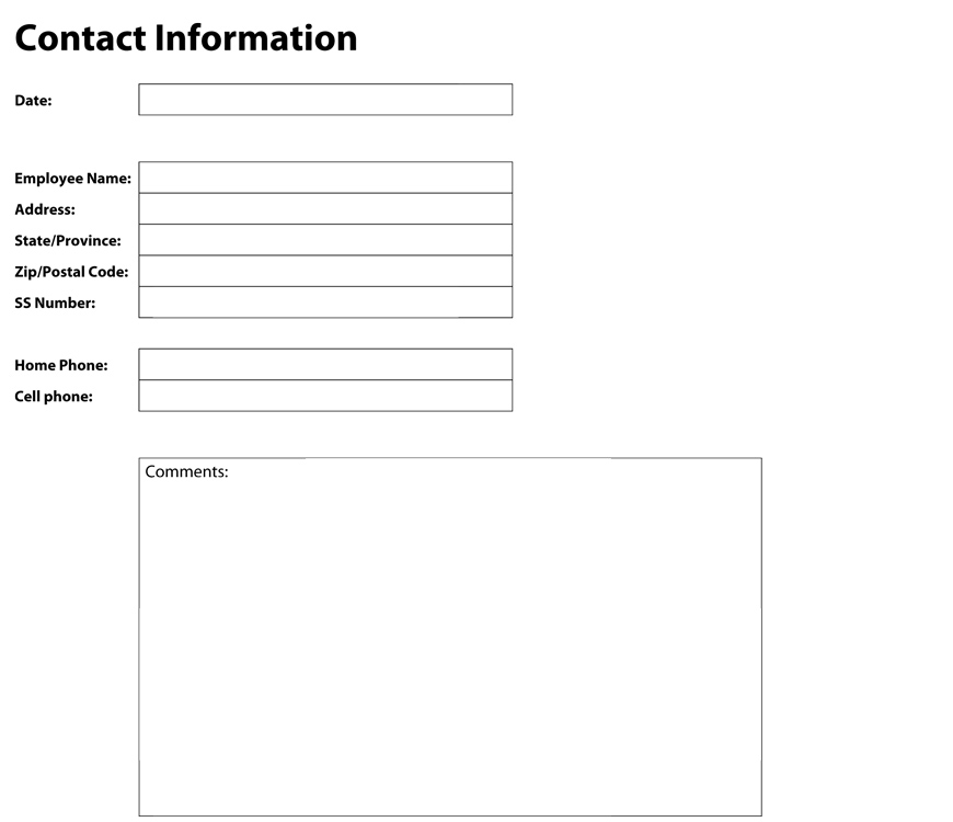 Printable customer information form for Update contact information form template