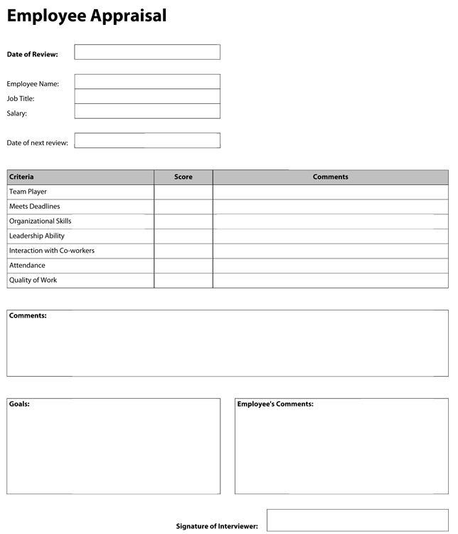 Appraisal Forms In Pdf One Page Performance Appraisal Form Sample