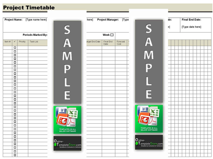 Project Management forms Construction Templates - project timetable