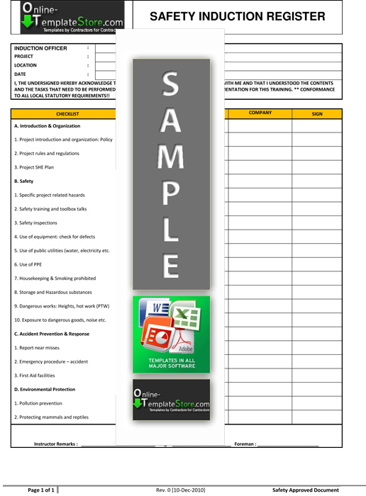 Health \ Safety forms Construction Templates - induction checklist template