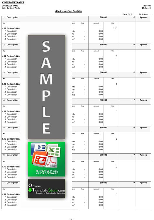 Cost Control forms Construction Templates