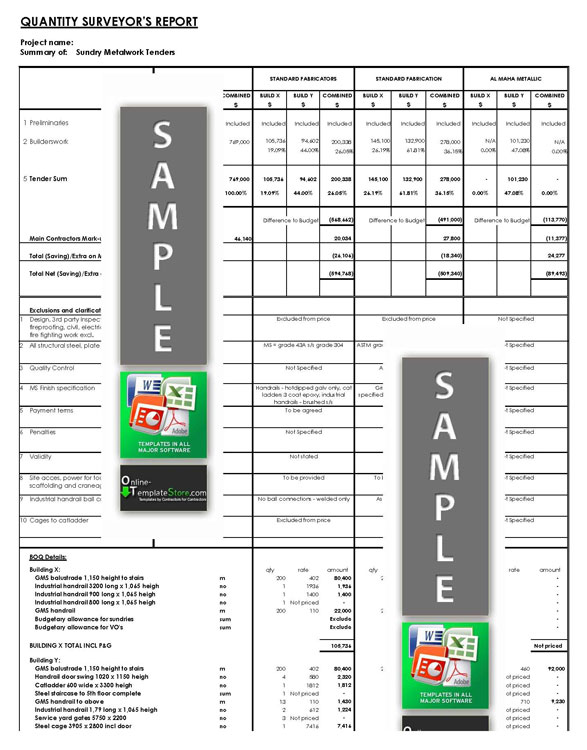 Estimating / Tendering Construction Templates - tender document template