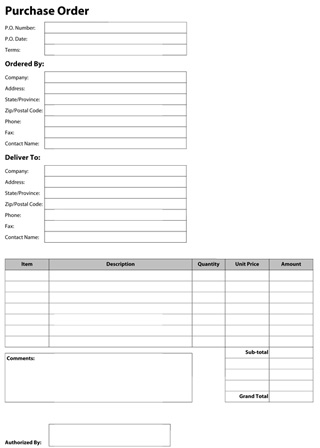 PDF Templates - Construction Template Store - purchase order pdf template