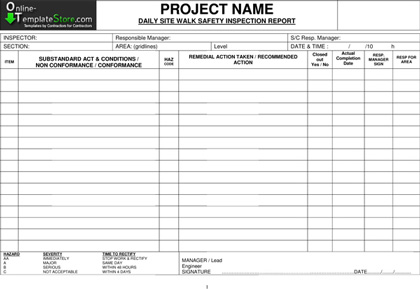 FREE Templates - Construction Template Store - inspection report templates
