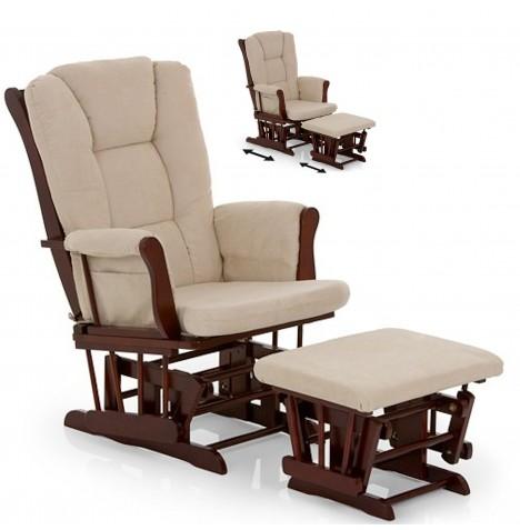 New Hauck Walnut Beige Glider Nursing Feeding Chair