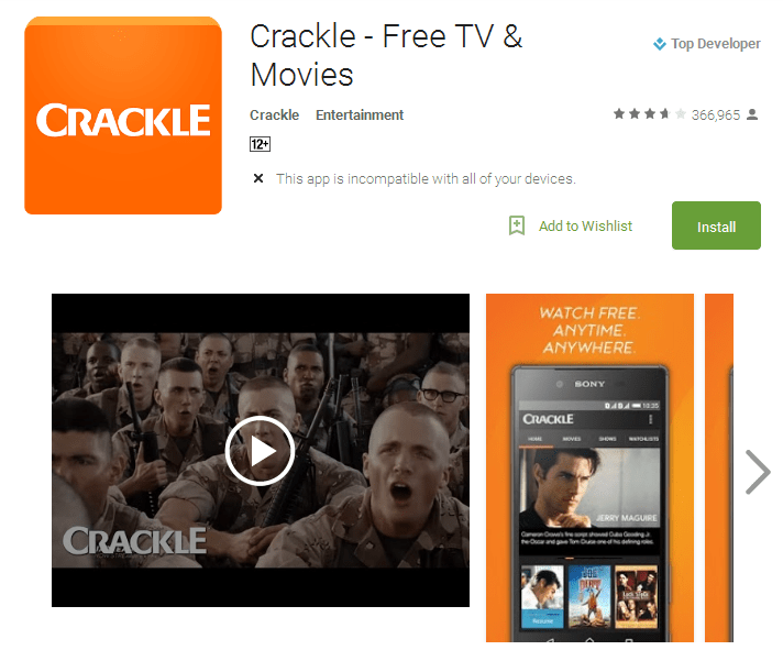 Crackle Free TV Movies Android Apps