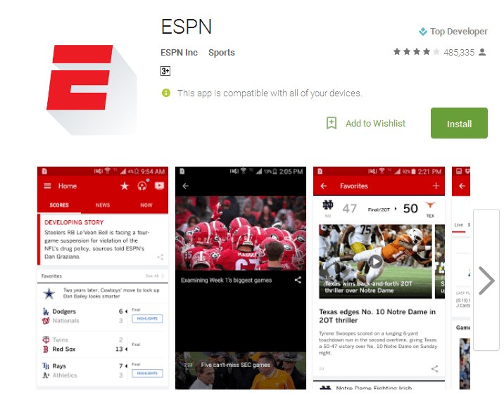 ESPN live sports streaming apps