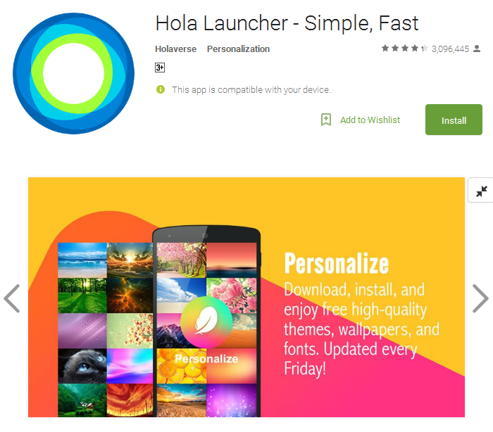 Hola Launcher android