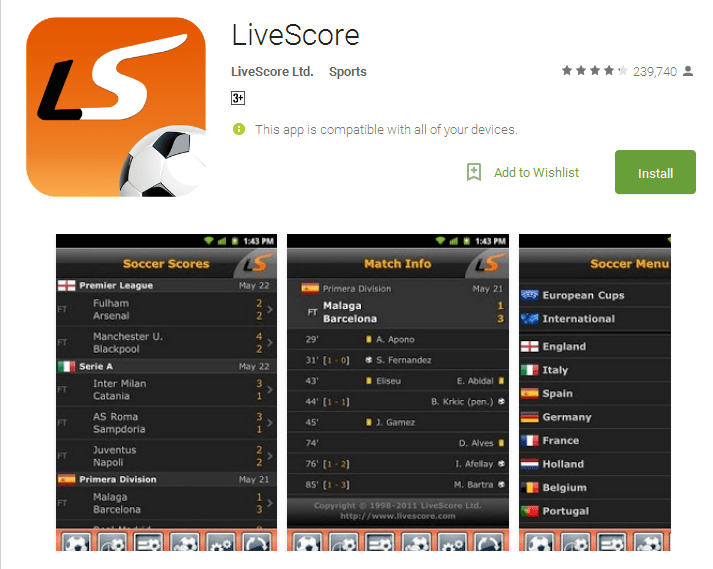 LiveScore Android Apps