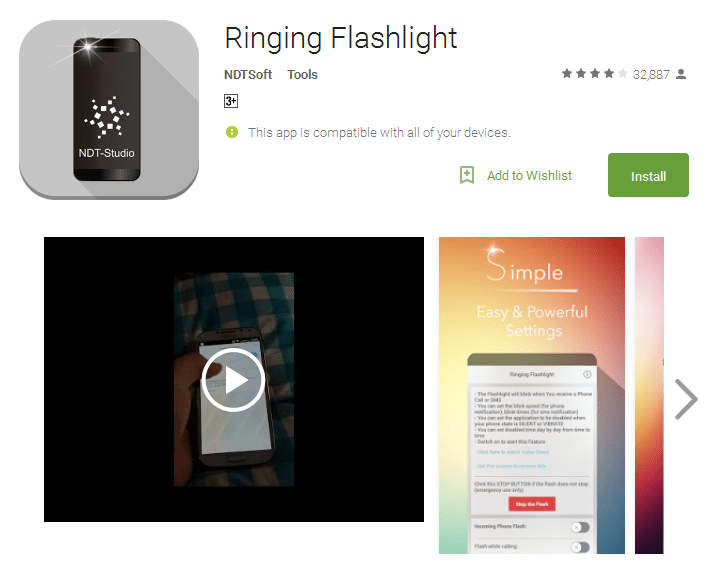 Ringing Flashlight ringing Android Apps