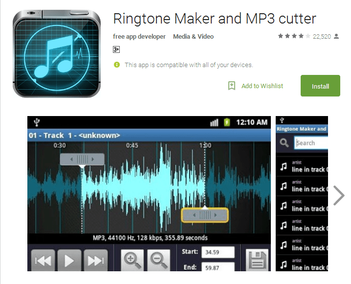 Ringtone Maker and MP3 cutter Android Apps