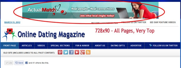 Ad space on Online Dating Magazine - 728x90