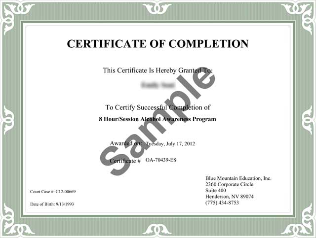Free Completion Certificate - Online Drug Class