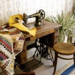 A treadle sewing machine, still in working order.