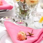 These elegant pink linen napkins feature a rolled hem and simple threadwork border which adds interest.