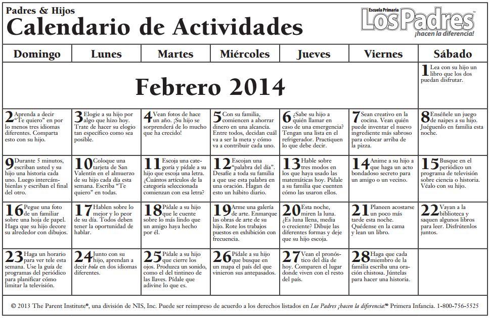 Calendario de Consejos para Padres \u2013 FEBRERO \u2013 FEBRUARY