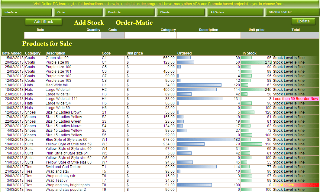 excel inventory template with formulas