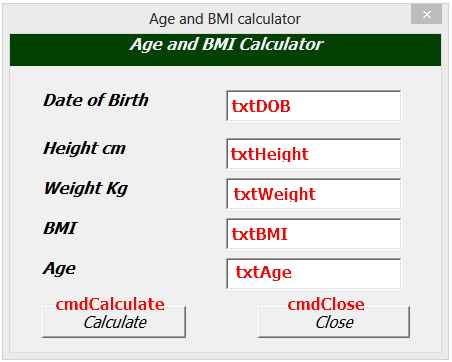 Excel Userform BMI and Age Calculator - Online PC Learning - bmi calculation formula