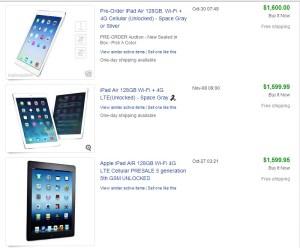 ipad air pic - ebay sold listings