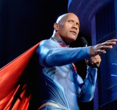 BURBANK, CALIFORNIA - APRIL 09:  Host Dwayne Johnson appears as Superman onstage during the 2016 MTV Movie Awards at Warner Bros. Studios on April 9, 2016 in Burbank, California.  MTV Movie Awards airs April 10, 2016 at 8pm ET/PT.  (Photo by Frazer Harrison/Getty Images for MTV)