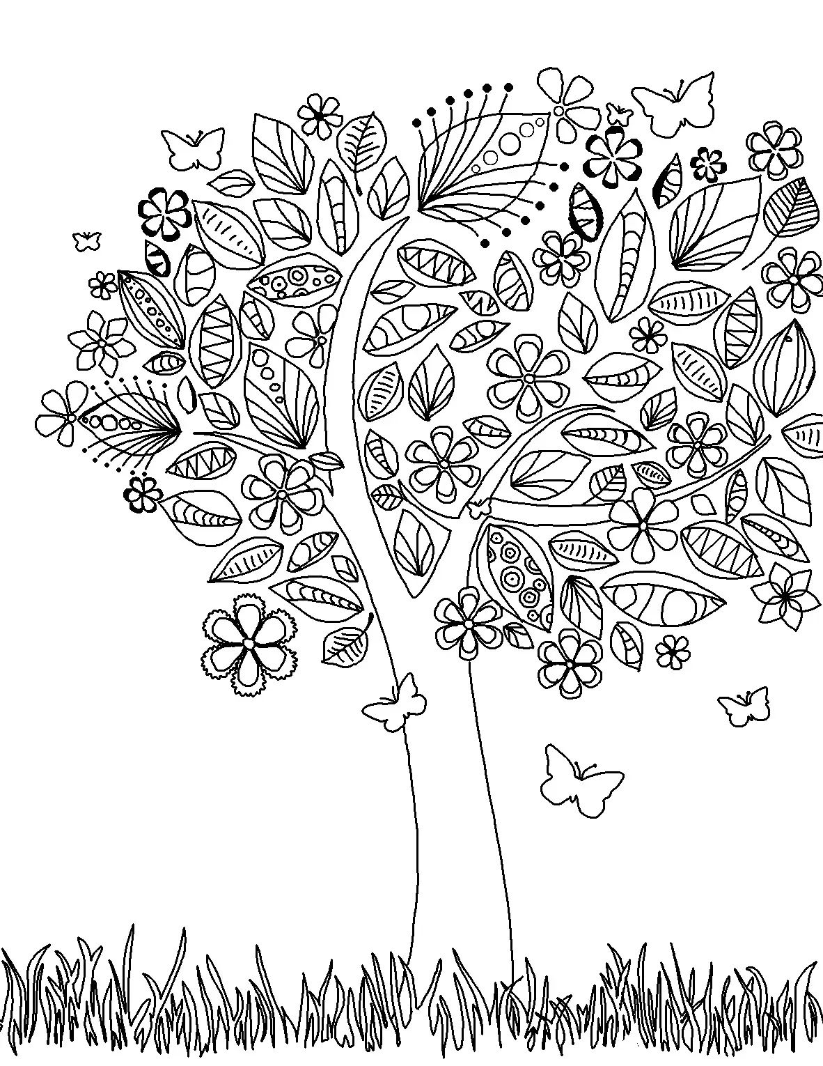 elephant pages tree coloring page free adult coloring pages