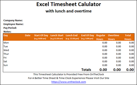 Free Excel Time Card Calculator With Lunch And Overtime \u2022 OnTheClock - biweekly time sheet calculator