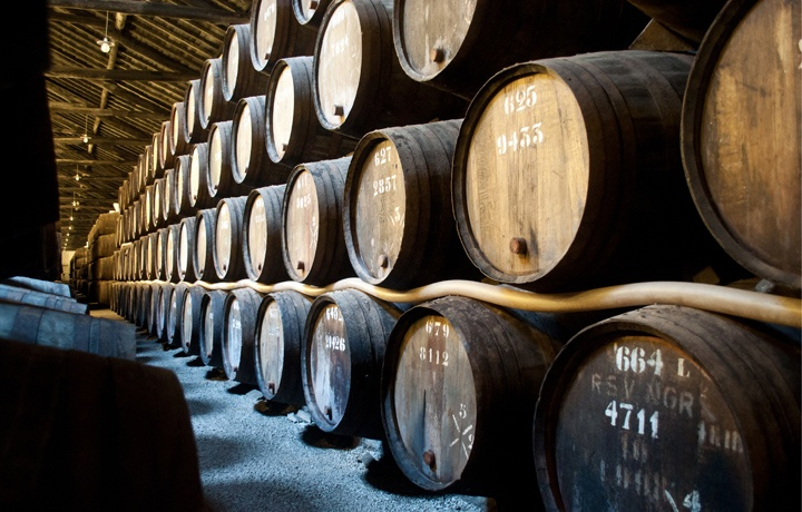 Stack of port barrels at Taylor's in Porto, Portugal