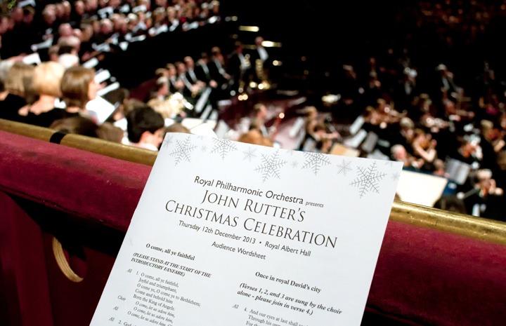 Christmas carols at the Royal Albert Hall, London