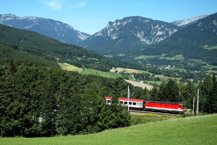 European rail journey in the Austrain mountains