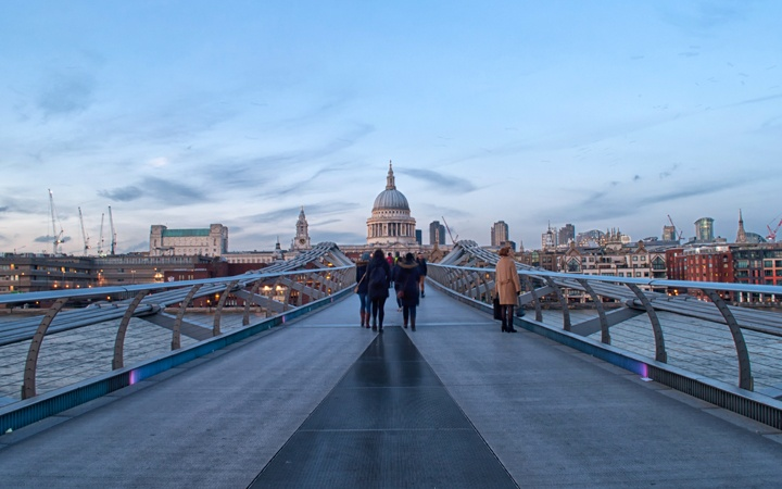 Millennium Bridge, London's South Bank at dusk