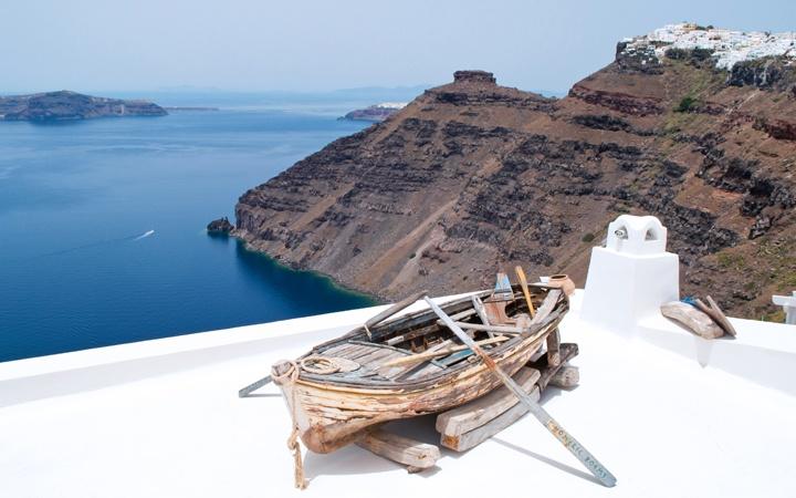 Blue and white in Fira, Santorini, Greece
