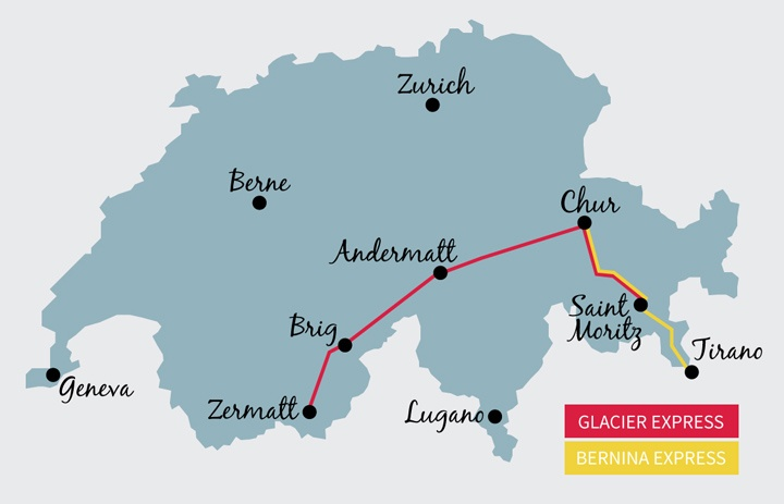 Switzerland's scenic train routes