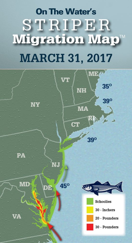 Striper Migration Map - March 31, 2017 - On The Water
