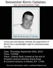 Kevin Callahan was killed by Suffolk Police. Join his family for a Memorial Service on Thursday, Sept 20, 2012