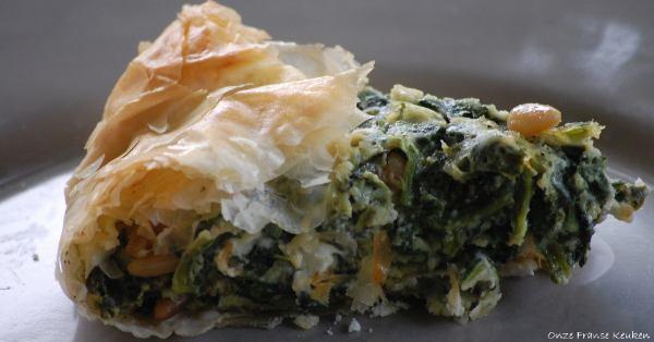 Snelle hartige taart met spinazie van Jamie Oliver