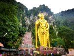 Photo Batu Caves Entrance Giant Gold Statue Kuala Lumpur Malaysia Ooaworld
