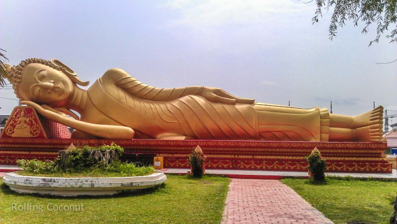 Golden Reclining Buddha Pha That Luang Vientiane Laos Rolling Coconut Ooaworld Photo Ooaworld