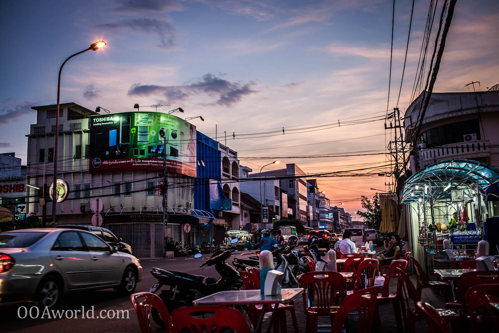 Vientiane Laos Street Cafe Photo Ooaworld