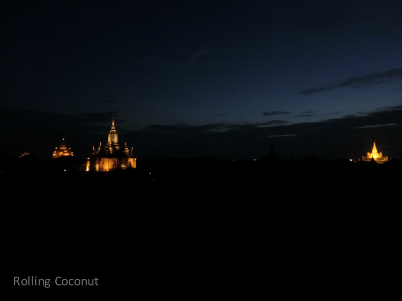 Lights on Temples Night Bagan Myanmar Ooaworld Rolling Coconut Photo Ooaworld
