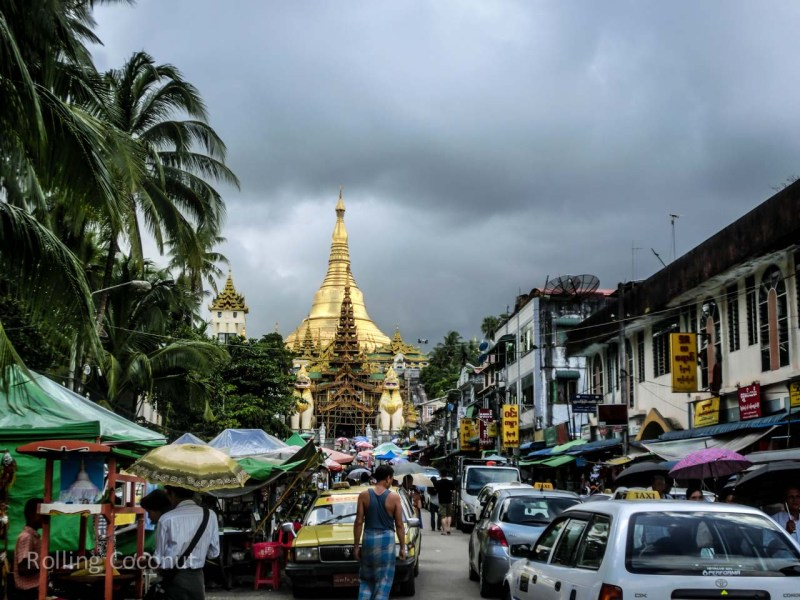 Streets towards Shwedagon Pagoda Myanmar Yangon ooaworld Rolling Coconut Photo Ooaworld